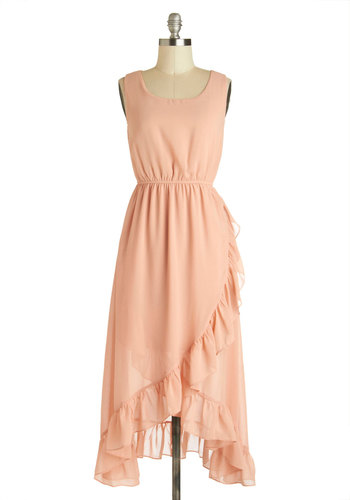 Pretty as Petals Dress - Pink, Solid, Ruffles, Daytime Party, Tank top (2 thick straps), High-Low Hem, Scoop, Wedding, Party, Pastel, A-line, Spring, Long, Bridesmaid