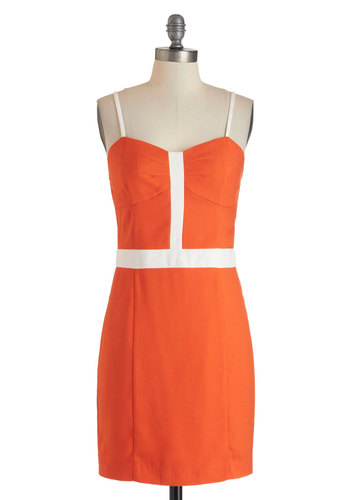 Orange You Darling? Dress - Short, Orange, White, Solid, Party, Sheath / Shift, Spaghetti Straps, Sweetheart, Summer