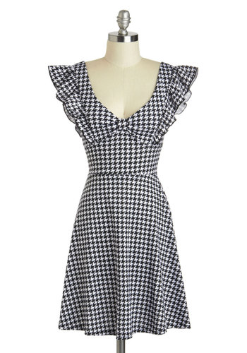 A-maizing Harvest Dress in Classic Houndstooth - Mid-length, Black, White, Houndstooth, Ruffles, Casual, A-line, Cap Sleeves, V Neck, Pinup, Vintage Inspired