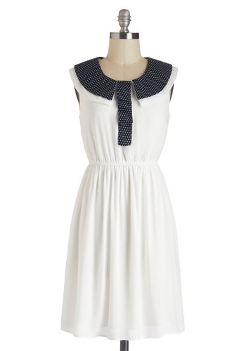 Starboard of Trustees Dress - White, Blue, Solid, Peter Pan Collar, Casual, A-line, Sleeveless, Collared, Polka Dots, Nautical, Summer, Daytime Party, Short