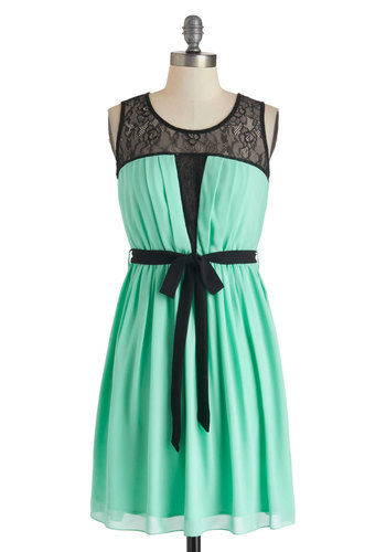The Mo-Mint Is Yours Dress - Mid-length, Mint, Black, Lace, Pleats, Belted, A-line, Tank top (2 thick straps), Scoop, Party, Pastel