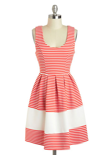 Performance on the Pier Dress - Nautical, White, Stripes, Fit & Flare, Tank top (2 thick straps), Scoop, Red, Pleats, Casual, Summer, Mid-length