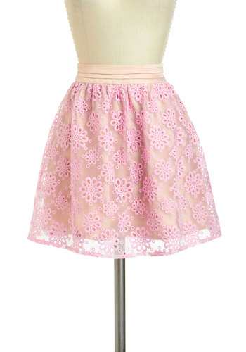 Piece of the Pizzelle Skirt - Short, Pink, Floral, Casual, Daytime Party, Fairytale, Spring