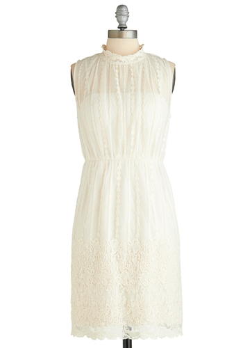 Graceful for Pastries Dress - Cream, Solid, Embroidery, Lace, Party, A-line, Sleeveless, Wedding, Vintage Inspired, Fairytale, French / Victorian, Mid-length, Bride, Graduation, Exclusives