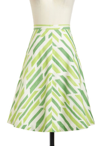 A Brushstroke with Fame Skirt - Green, Print, Work, A-line, Cotton, Stripes, Exclusives, Casual, Vintage Inspired, 60s, Pockets, Beach/Resort, Pinup, Chevron, Green, Mid-length