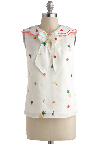 What a Fruity Pie Top by Nishe - International Designer, White, Red, Yellow, Green, Novelty Print, Bows, Daytime Party, Pinup, Vintage Inspired, 40s, 50s, Fruits, Quirky, Sleeveless, Collared, Mid-length, Summer