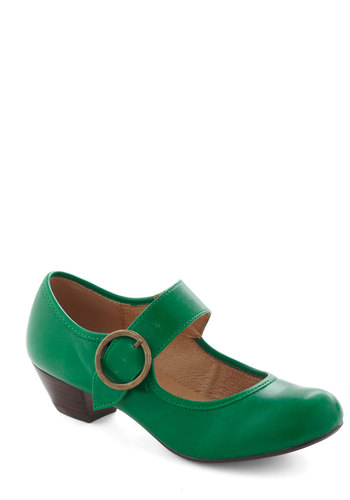 Few Steps Forward Heel in Emerald by Chelsea Crew - Green, Solid, Vintage Inspired, 20s, 30s, Low, Leather, Work