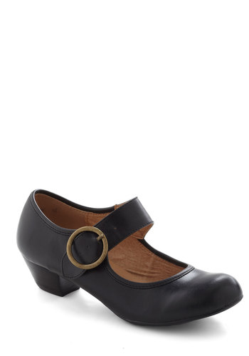 Few Steps Forward Heel in Black by Chelsea Crew - Black, Solid, Vintage Inspired, 20s, 30s, Low, Leather, Buckles, Work, Faux Leather, Mary Jane, Winter, Top Rated