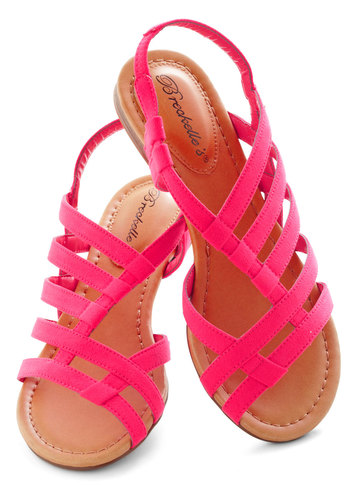 White Sand Shores Sandal in Pink - Pink, Solid, Flat, Beach/Resort, Summer, Casual, Strappy, Faux Leather