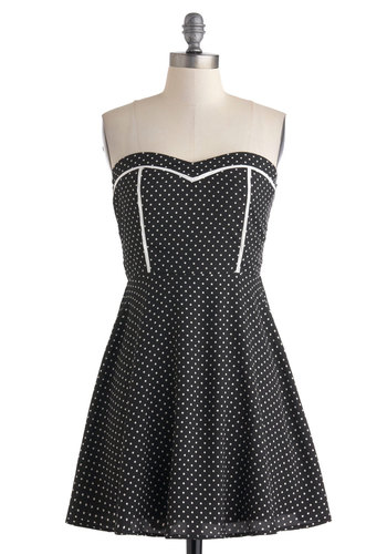 Short and Sweetheart Dress - Short, Black, White, Polka Dots, Party, A-line, Sweetheart, Strapless