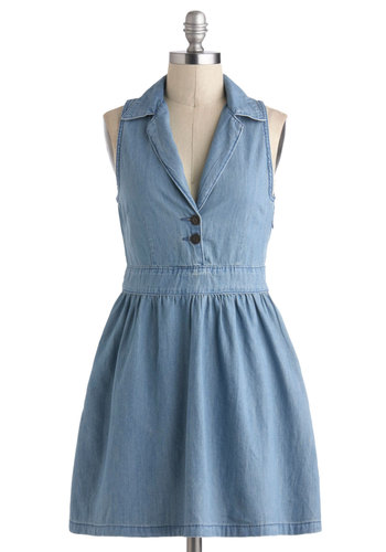 Lena Denim Dress - Cotton, Short, Blue, Solid, Buttons, Casual, A-line, Sleeveless, Collared, Spring