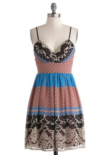 Soiree to Go Girl Dress in Collage - Multi, Print, Casual, Spaghetti Straps, V Neck, Mid-length, A-line, Top Rated