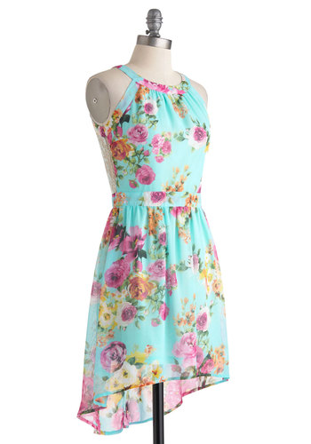 All Day Date Dress - Blue, Multi, Floral, Daytime Party, High-Low Hem, Short, Cutout, Lace, Sleeveless, Crew, Spring, Graduation