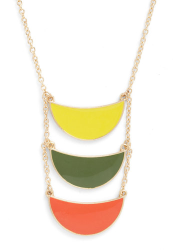 The Peel World Necklace - Orange, Yellow, Green, Solid, Tiered, Colorblocking, Multi, Gold