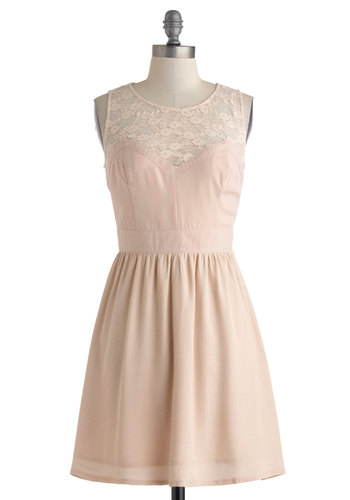 A Blush of Excitement Dress - Pink, Solid, Lace, A-line, Sleeveless, Sheer, Short, Wedding, Party, Pastel, Crew, Bridesmaid