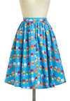 World-Wind Tour Skirt - Cotton, Mid-length, Blue, Red, Yellow, Purple, Pink, Novelty Print, Fit & Flare, Exclusives, Pockets, Casual, Vintage Inspired, 50s, Beach/Resort, Pinup