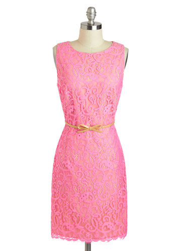 Forever Fabulous Dress - Mid-length, Pink, Solid, Bows, Lace, Belted, Daytime Party, Sheath / Shift, Sleeveless, Scoop, Cocktail, Luxe