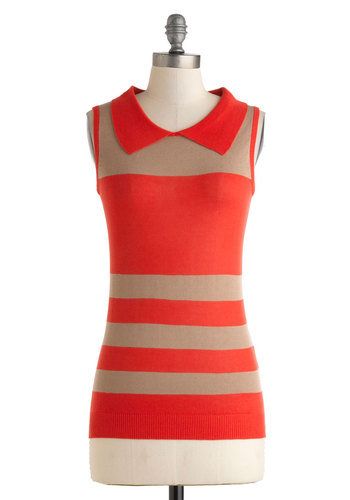 Color Me Badminton Top - Red, Tan / Cream, Stripes, Casual, Scholastic/Collegiate, Sleeveless, Collared, Mid-length, Work, Summer