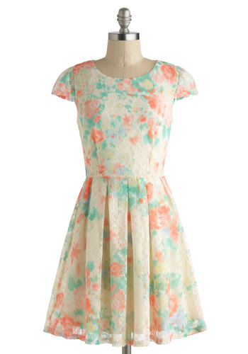 Tea Cupcake Dress - Short, Cream, Multi, Floral, Cutout, Lace, Pleats, Daytime Party, A-line, Cap Sleeves, Crew, Fairytale, Graduation, Pastel
