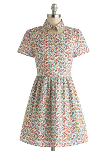 Change of Paisley Dress - Multi, Print, Casual, A-line, Short Sleeves, Collared, Mid-length, Paisley, Vintage Inspired