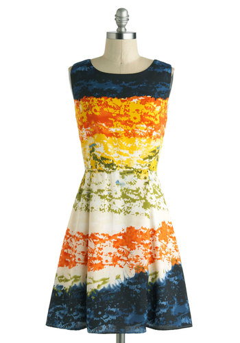 Mirage Band Dress - Floral, Casual, A-line, Short, Multi, Orange, Yellow, Green, Blue, Black, White, Print, Cutout, Sleeveless, Boat