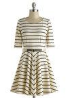 Harbor Day Dress - Stripes, Belted, Short, Cream, Casual, A-line, 3/4 Sleeve, Scoop, Nautical, Blue