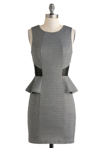 Approachable Vogue Dress - Short, Black, White, Houndstooth, Party, Sheath / Shift, Peplum, Sleeveless, Scoop, Cocktail, Vintage Inspired, 40s, Sheer