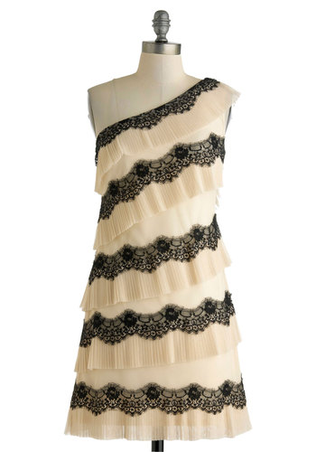 Paris Aperitif Dress by Max and Cleo - Mid-length, Tan / Cream, Black, Lace, Tiered, Prom, Cocktail, Sheath / Shift, One Shoulder, Pleats, Scallops, Special Occasion, Wedding, Bride