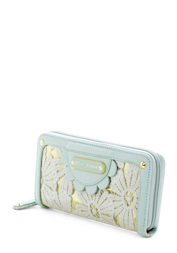 Betsey Johnson Having a Field Daisy Wallet by Betsey Johnson - Floral, Scallops, Mint, Pastel