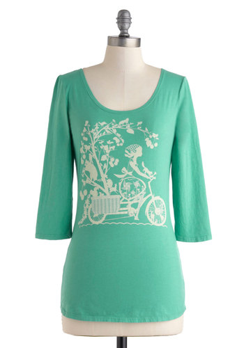 Nature Ride Tee in Turquoise - Cotton, Mid-length, Blue, Tan / Cream, Novelty Print, Casual, 3/4 Sleeve, Jersey, Scoop, Variation, Travel, Green, 3/4 Sleeve