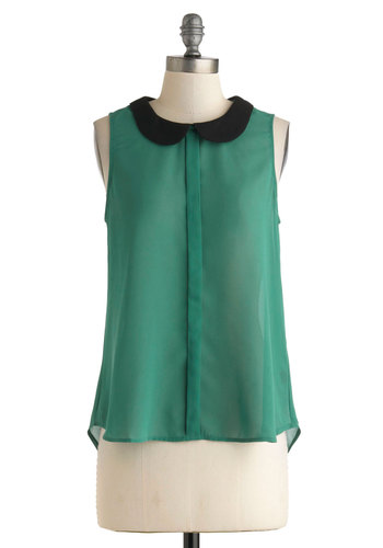 Made the Glade Top - Green, Black, Buttons, Peter Pan Collar, Sleeveless, Sheer, Solid, Work, Casual, Tent / Trapeze, Crew, 40s, 50s, 60s, Pinup, Summer, Woven, Chiffon, Mid-length, Green, Sleeveless, Good