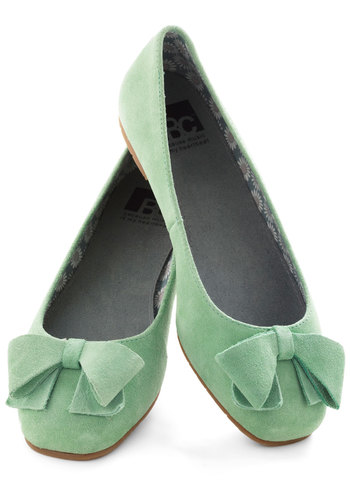 Clover Your Bases Flat by BC Footwear - Green, Solid, Bows, Flat, Suede, Work, Casual, Pastel