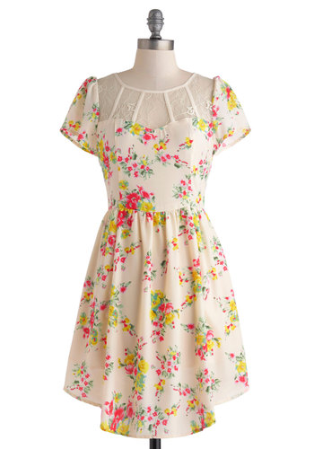 Perfectly Pastoral Dress - Cream, Multi, Floral, Lace, A-line, Short Sleeves, Mid-length, Crew, Daytime Party