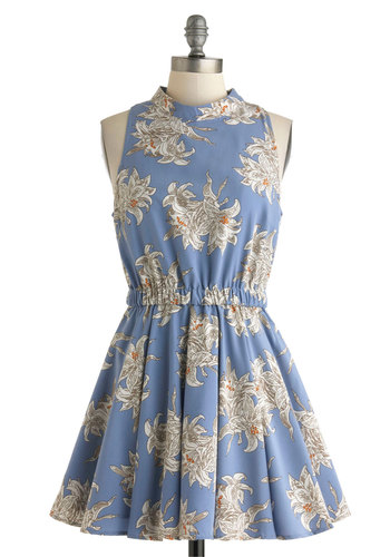 Kelli Murray Dress - Blue, Multi, Floral, Pleats, Casual, Short, Cutout, Fit & Flare, Sleeveless, Spring