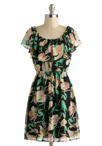 Delray Mi Dress - Black, Multi, Floral, Ruffles, Casual, A-line, Cap Sleeves, Mid-length, Scoop, Tiered, Daytime Party, Summer