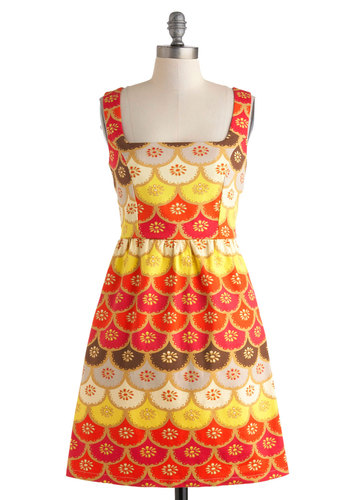 The Glow of the Garden Dress - Multi, Casual, A-line, Tank top (2 thick straps), Spring, Mid-length, Orange, Yellow, Pink, Brown, Tan / Cream, Print, Cutout, Pockets, Summer