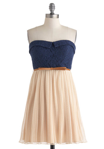 Center Stage of Attention Dress - Blue, Tan / Cream, Casual, Twofer, Strapless, Bows, Lace, Sweetheart, Empire