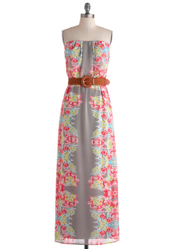 Kauai Not? Dress - Long, Multi, Grey, Floral, Belted, Casual, Boho, Maxi, Strapless, Beach/Resort