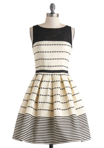 Promoting Elegance Dress in Champagne - Black, Polka Dots, Stripes, Pleats, Party, Fit & Flare, Sleeveless, Spring, Cream, Cutout, Boat, Pockets, Luxe, Prom