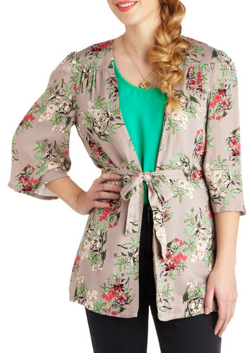 Let's Grab Lunch! Jacket by Tulle Clothing - Grey, Red, Green, White, Floral, 3/4 Sleeve, 1, Mid-length, Belted