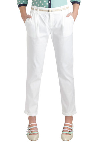 New Slack Swing Pants in White - White, Solid, Pleats, Belted, Work, Pockets, Cropped, Cotton, Sheer