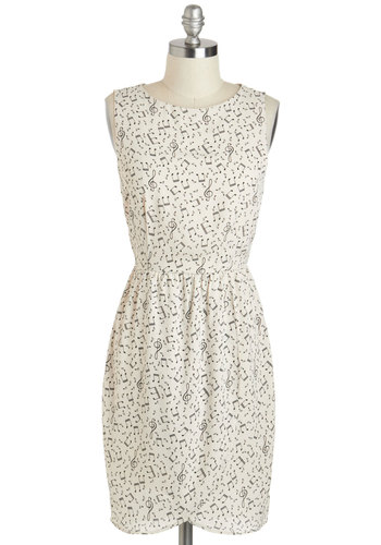 Here Comes Treble Clef Dress - Mid-length, White, Black, Cutout, Party, Sheath / Shift, Sleeveless, Crew, Novelty Print, Casual, Music, Summer