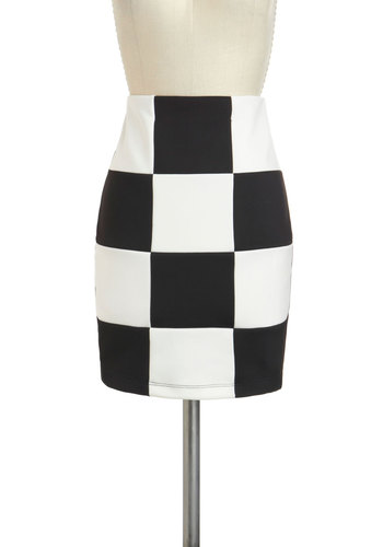 Bold Sense of Tile Skirt - Black, White, Party, Vintage Inspired, 60s, Mod, Short