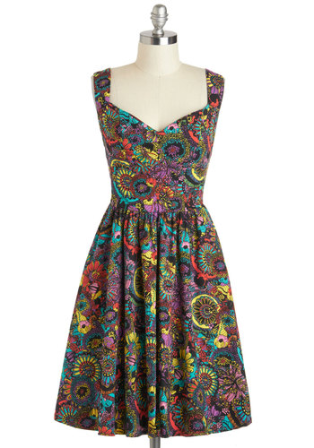 Westward Excursion Dress in Flower Power by Nooworks - Mid-length, Multi, Floral, Pockets, A-line, Tank top (2 thick straps), Sweetheart, Cocktail