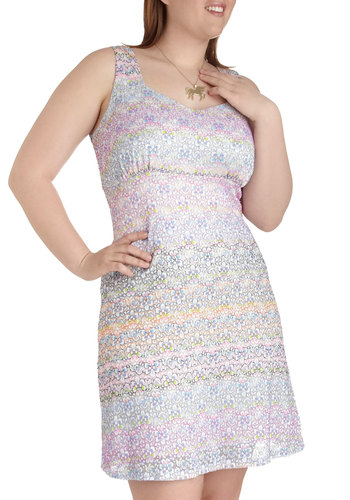 Colored Pencil to Paper Dress in Plus Size - Multi, Party, Pastel, Mid-length, Exclusives, Lace, Shift, Tank top (2 thick straps), Girls Night Out, Vintage Inspired, 60s, 70s