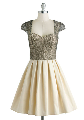 Glimmer and Dancing Dress - Sheer, Mid-length, Tan / Cream, Black, Lace, Pleats, Prom, Cocktail, Fit & Flare, Cap Sleeves, Party
