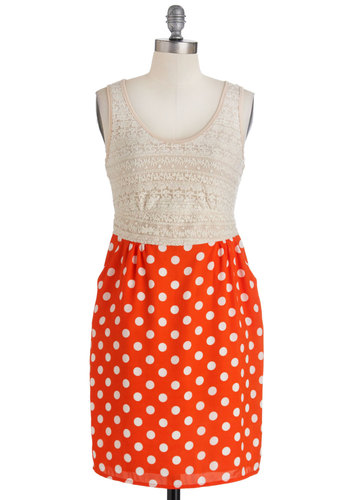 Mimosa the Time Dress - Short, Orange, White, Polka Dots, Exposed zipper, Lace, Pockets, Twofer, Party, Summer, Shift, Tank top (2 thick straps)