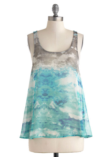 Seashore As Can Be Top - Mid-length, Sheer, Multi, Blue, Grey, White, Tie Dye, Casual, Sleeveless, Beach/Resort, Boho, Tent / Trapeze