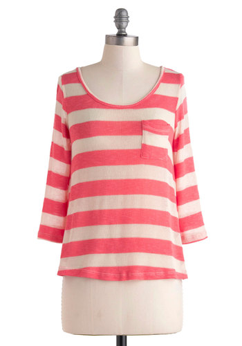 Takes the Cheesecake Top - Coral, White, Stripes, Pockets, Casual, Long Sleeve, Cutout, Sheer, Travel, Mid-length, Pink, Long Sleeve