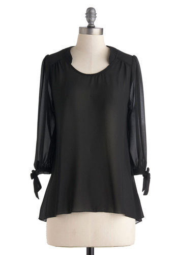Sheer Simplicity Top - Black, Solid, Work, Long Sleeve, Mid-length, Sheer, Black, Long Sleeve